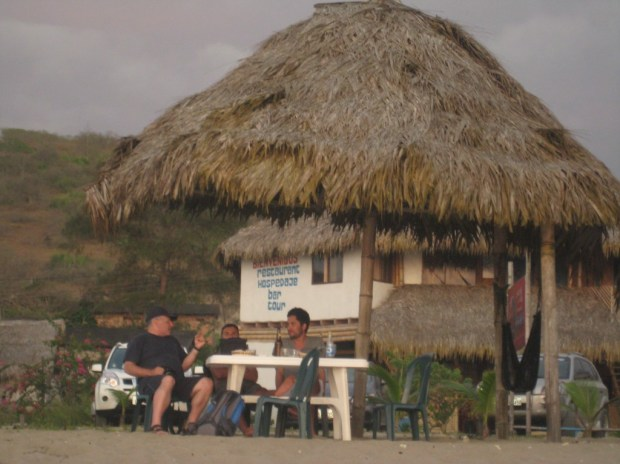 """Our dinner table, feet from the beach.  We met up with Ecuadorian friends from Quito and made some lifelong memories in """"Las Tunas""""."""