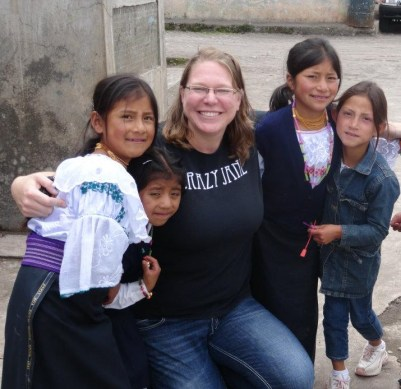 Heidi with her students.
