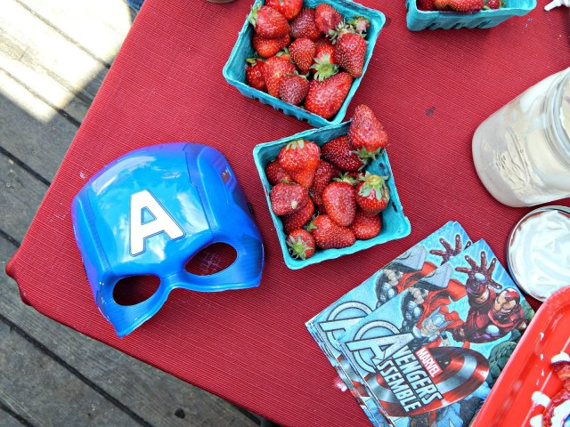 Captain America Cookies and Strawberry Shortcake (with whipped cream made from a mason jar!) #AvengersUnite #ad