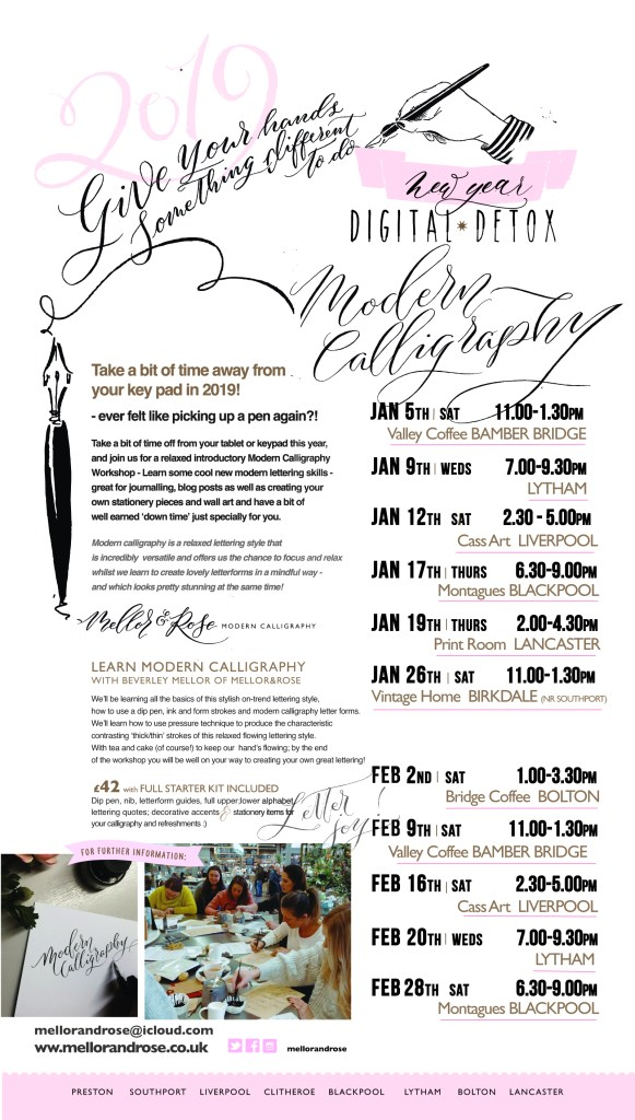 Modern Calligraphy workshops with Mellor and Rose in Lancashire, Yorkshire and Merseyside