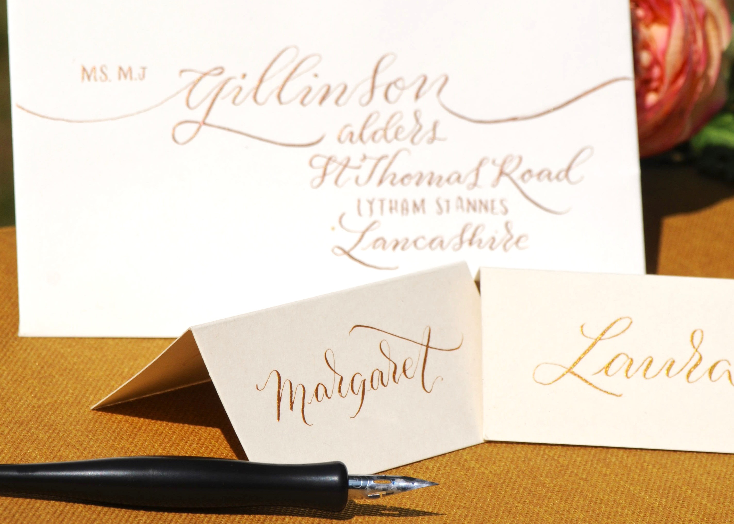 Hand Lettered Personalised Stationery; Gift Tags, Notes and Envelopes by Mellor and Rose in Lancashire for Weddings, Parties, Restaurants and Cafes