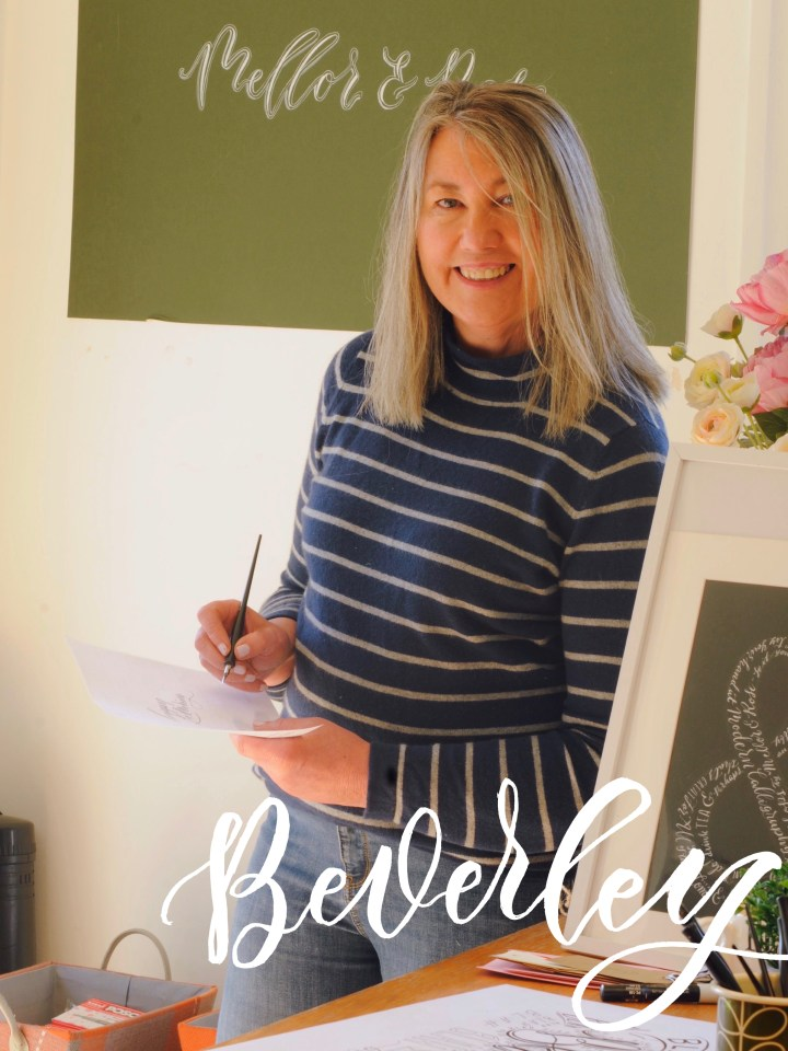 Beverley Mellor of Mellor and Rose - Handlettering & Calligraphy artist