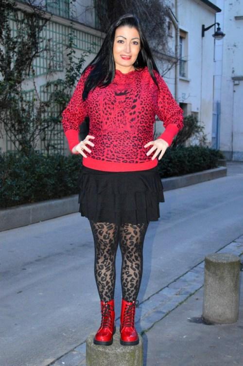 Blog Mode Mélo l'imparfaite pull chauve souris graou rouge princesse boutique boots mim on top