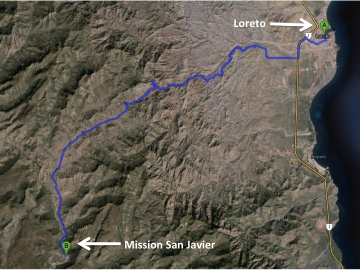 Mission San Javier is a little over 60 miles southwest of Loreto.  The normal driving time is about 90 minutes, but driving conditions can increase with bad weather.