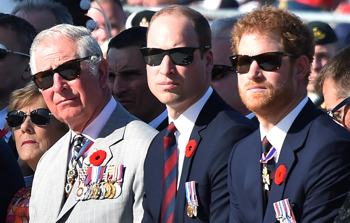 (LtoR) Britain's Charles, Prince of Wales, Britain's Prince William, Duke of Cambridge and Britain's Prince Harry, attend a commemoration ceremony at the Canadian National Vimy Memorial in Vimy, near Arras, northern France, on April 9, 2017, marking the 100th anniversary of the Battle of Vimy Ridge, a World War I battle which was a costly victory for Canada, but one that helped shape the former British colony's national identity. / AFP PHOTO / POOL / Philippe HUGUEN (Photo credit should read PHILIPPE HUGUEN/AFP/Getty Images)