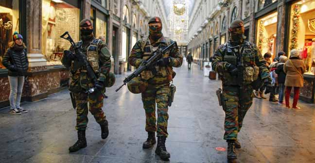 Security Personnel march on Belgium streets.