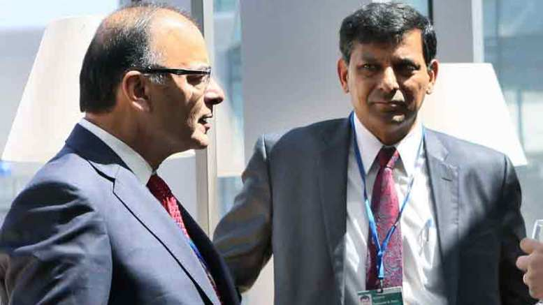 File Photo: Finance Minister Arun Jaitley with RBI Governor Raghuram Rajan in the USA.