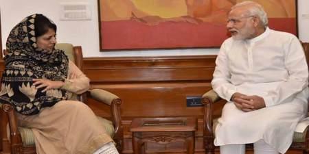 J&K Chief Minister Mehbooba Mufti meeting Prime Minister Narendra Modi in New Delhi on August 27, 2016.