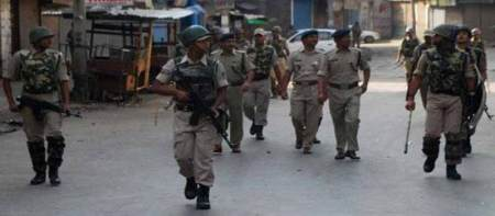 File Photo: Indian forces conduct flag march in Srinagar.