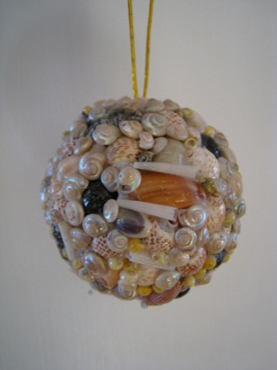 Seashell covered ornament from a little tourist shop on Pier 39 in San Fran.