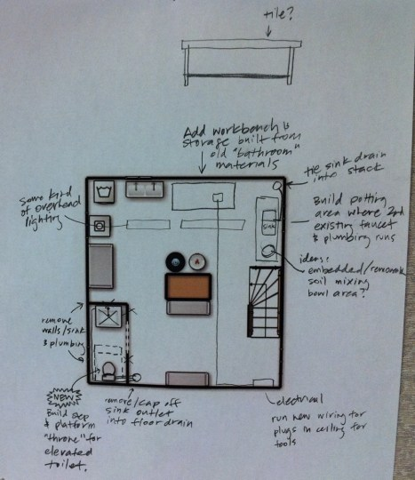 Updated plan for the basement overhaul. New plumbing, lighting, and storage.
