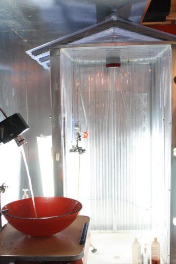Shower and sink. True DIY living.