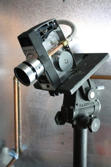 8mm camera, turned water spout. The casing has been opened here so you can see the inner-workings.