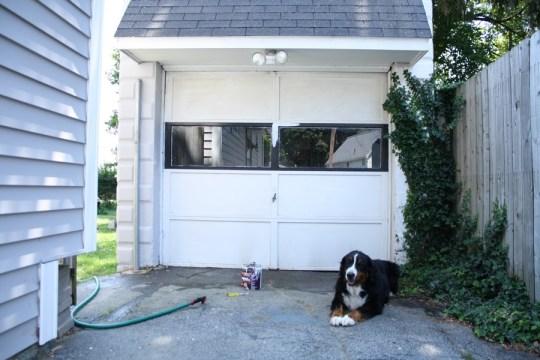 "A ""clean"" but still filthy garage door."