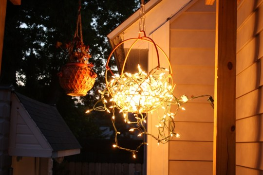 Hanging light at dusk.