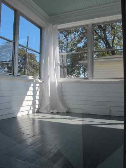 Bright corner of curtains.