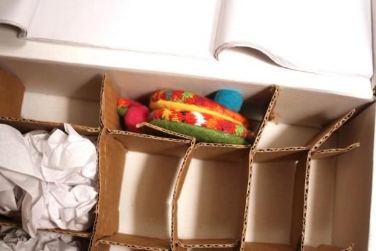 Custom fitting ornaments into the DIY storage. Bingo.
