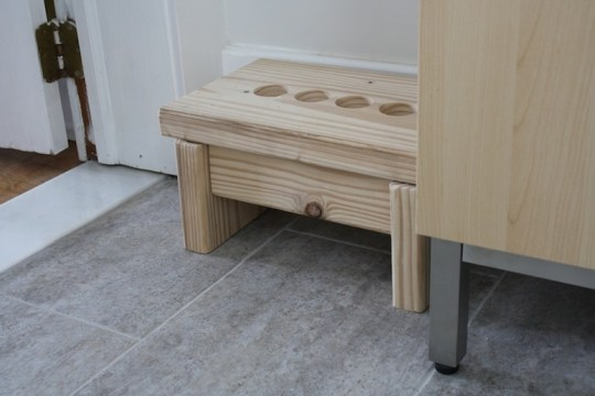 Finished step stool for the bathroom.
