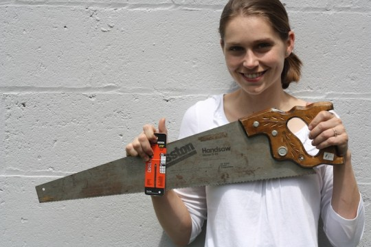Girl gets tool-thrifty. See more of what she buys at garage sales at DIYNetwork.com