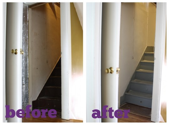 Attic stairwell: Before and After