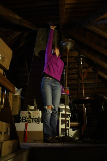 Me, standing tall in the attic.