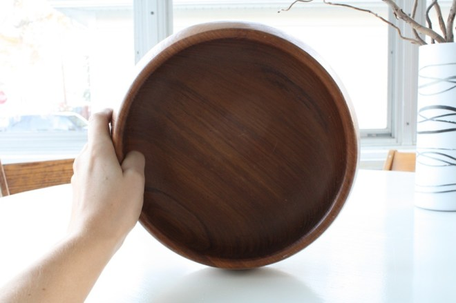 Pretty teak bowl, a $4 Goodwill find.