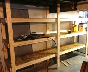 Our finished basement shelving unit.