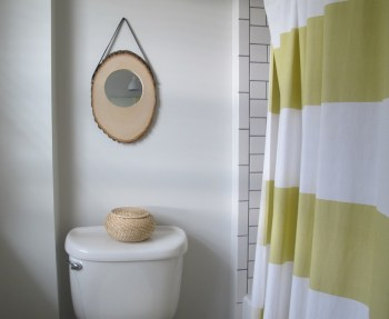 New DIY Anthropologie-inspired mango slice mirror in our bathroom.