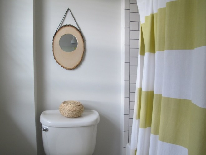 New DIY Anthropologie-inspired mango slice mirror in our bathroom.