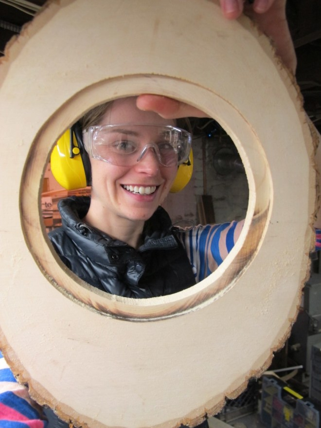 Cut and routed hole for the salvage store mirror.