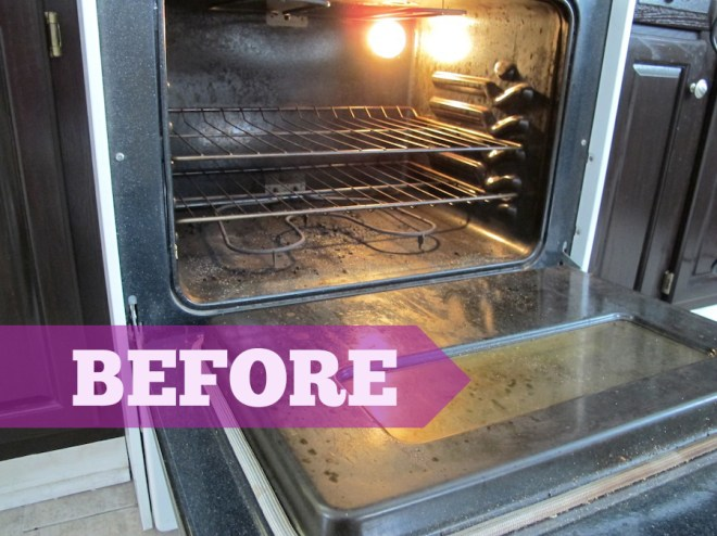 Dirty oven, about to be taken down by the HomeRight SteamMachine.