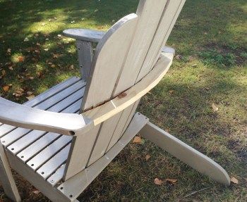 How to repair the back brace on an adirondack chair.