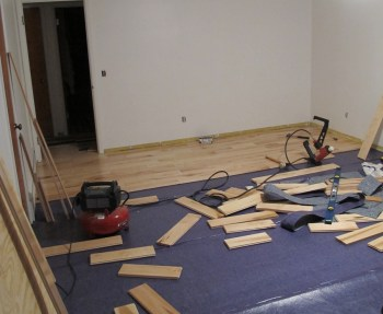 Modest progress installing maple in our bedroom.