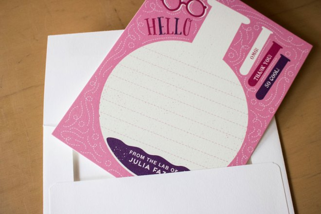 Stationary customized for a tween who loves science from Minted.