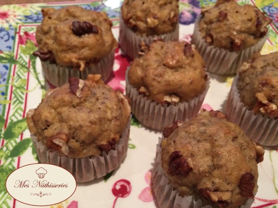Muffins allégés banane, noix et ggraines de chia