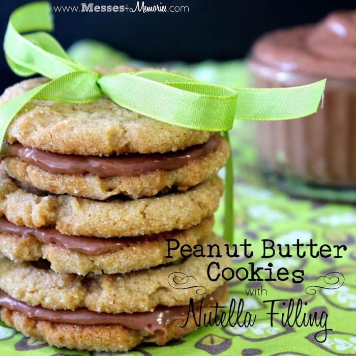 Double the Peanut Butter Cookies and add a Nutella filling for the perfect sandwich from Messes to Memories