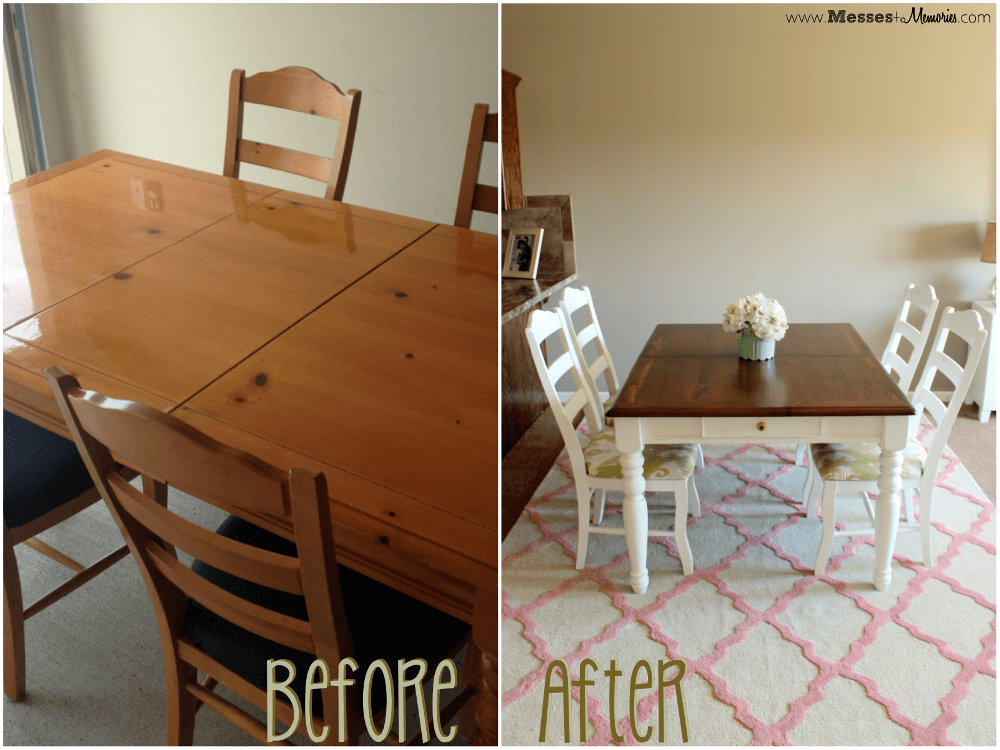 Diy distressed chalk paint table for Painted dining table before and after