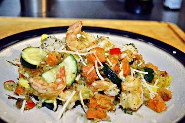Veggie Loaded Spaghetti Squash w/Shrimp