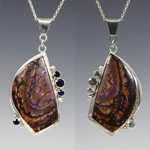 7. Reversible Koroit Boulder Opal Pendant - Sapphires and White Topaz, fine silver, Argentium silver, Koroit boulder opal, blue sapphires, white topaz
