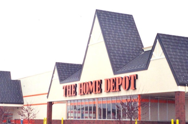 This Home Depot location in Ontario trusted Metal Roof Outlet to finish its peaked roof with a marled black steel shake.