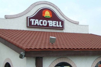This Taco Bell in Ontario asked Metal Roof Outlet to provide them with a steel continental tile in a terra cotta colour to suit the brand's image.