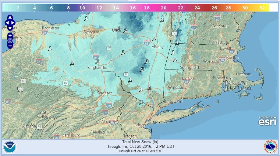 Snow Forecast Maps Thursday 10272016
