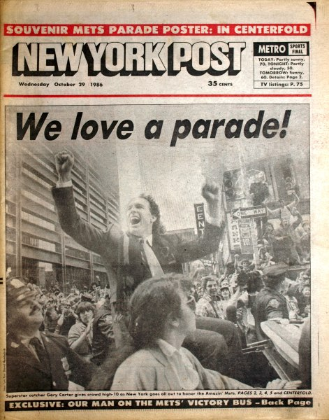 MetsPolice.com 1986 Tickertape Parade Post Front