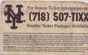 Mets 1997 ticket stub back