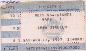 Mets Opening Day 1997 Ticket