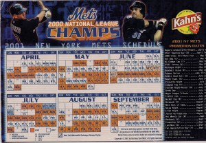 2001 Mets Magnetic Schedule