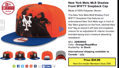 mets star wars cap