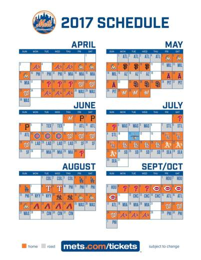 I Too Have The 2017 New York Mets Baseball Schedule The