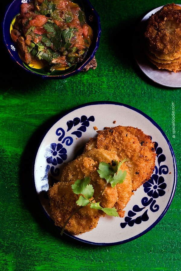 Fried Green Tomatoes Topped with Salsa