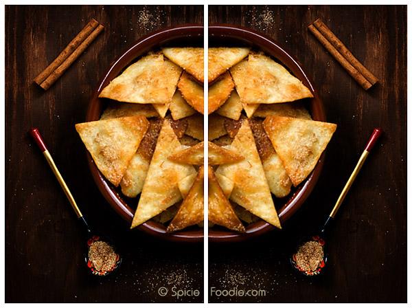 Cinnamon Sugar Chips; Cinnamon Sugar Crisps; cinnamon; sugar; bunuelos; Mexican; snack; dessert; sweet; baked; healthy; healthier; olive oil; flour tortillas; butter